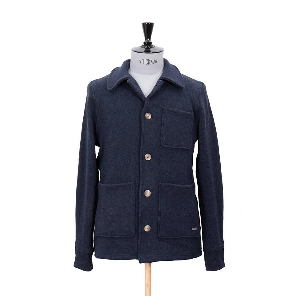 Marinblå stilig, stickad jacka för herr
