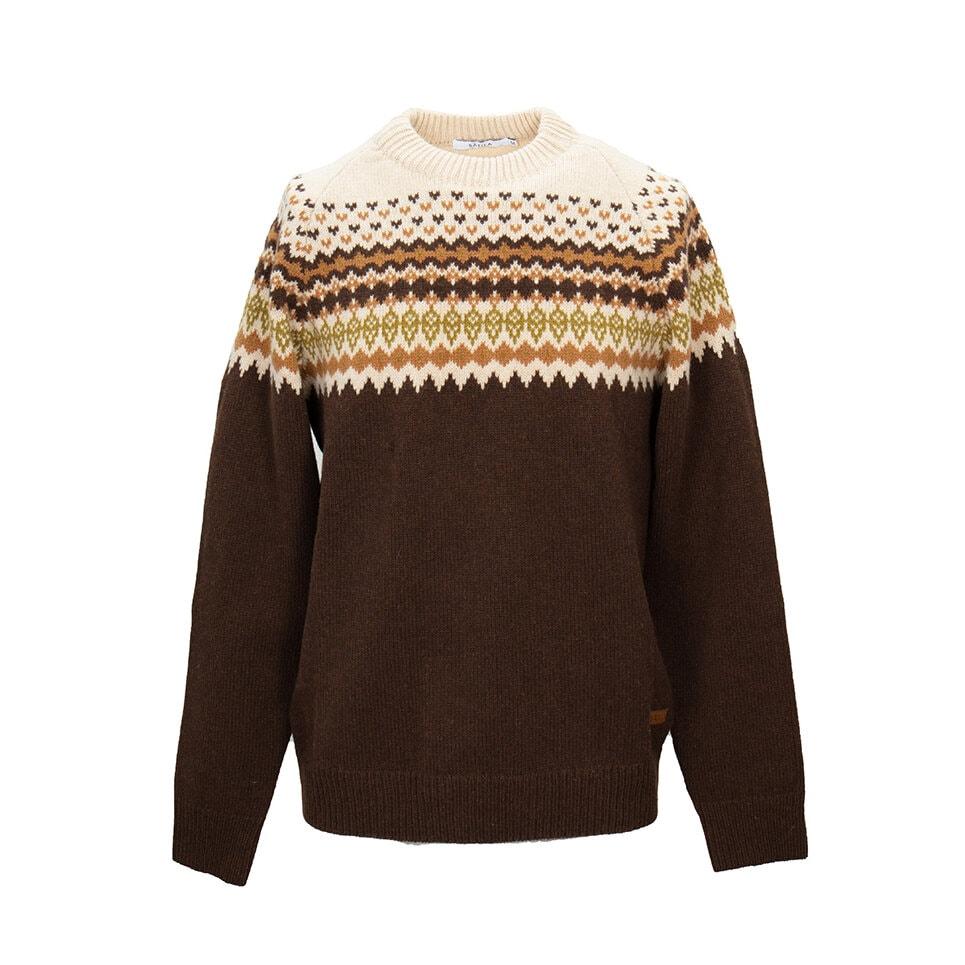 Stickad tröja i naturfärger, klassiskt Sätila mönster från 70-talet