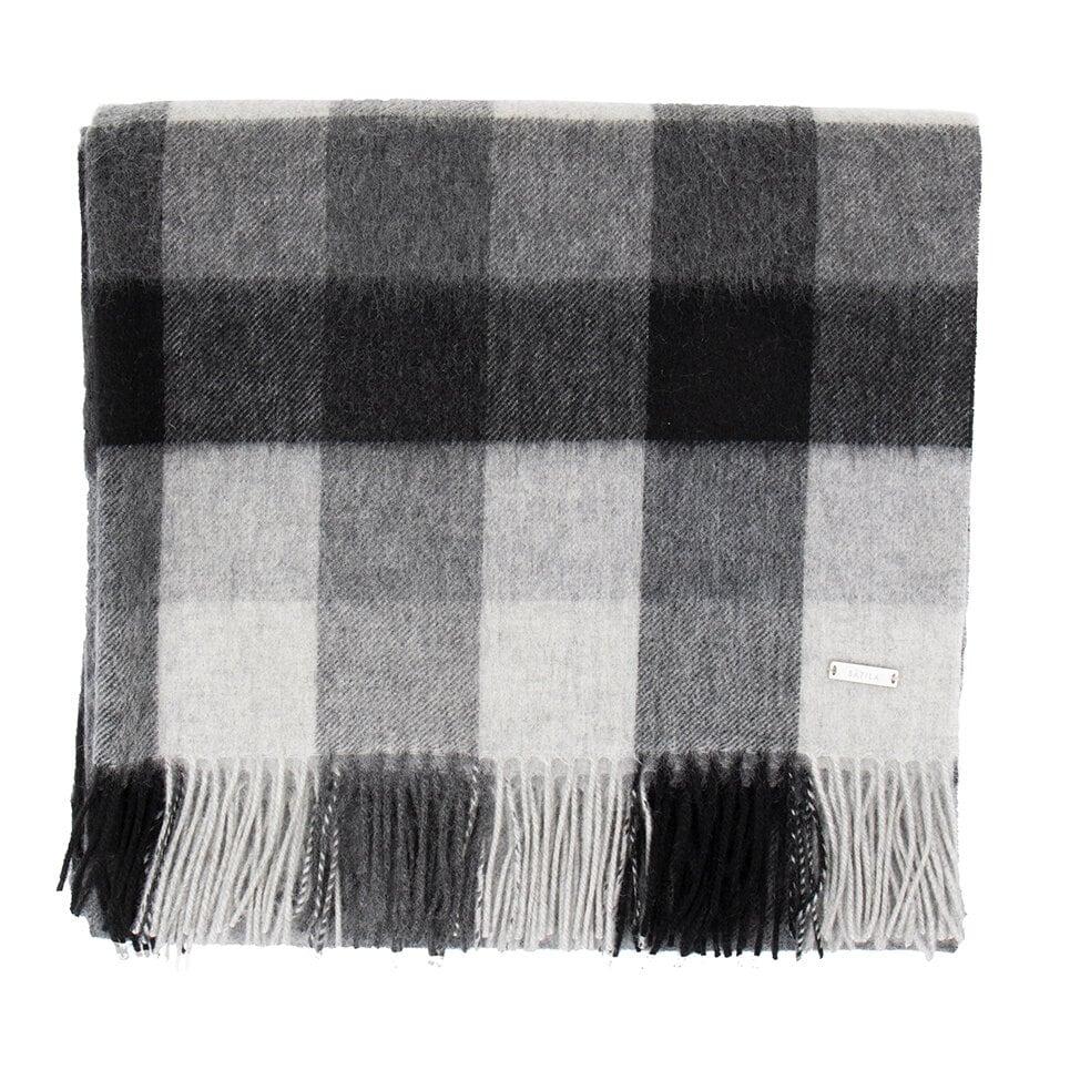 Stor, rutmönstrad halsduk i svart och vitt