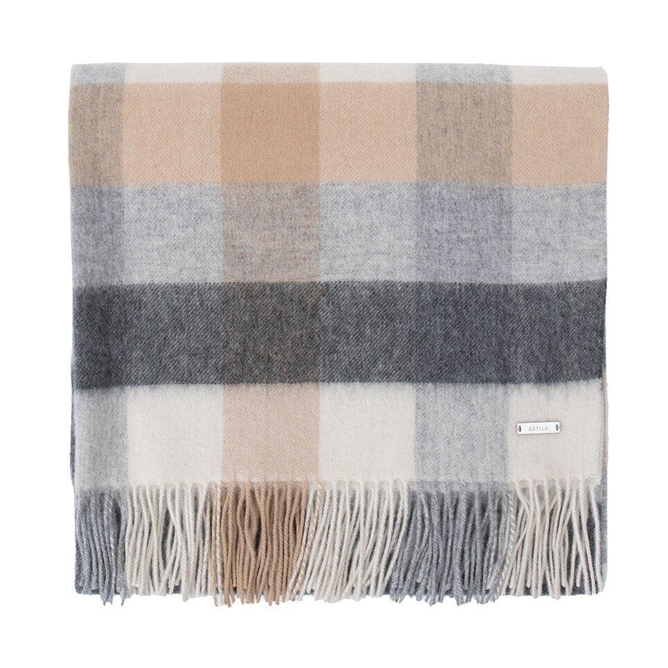 Stor, rutmönstrad halsduk i grått och beige