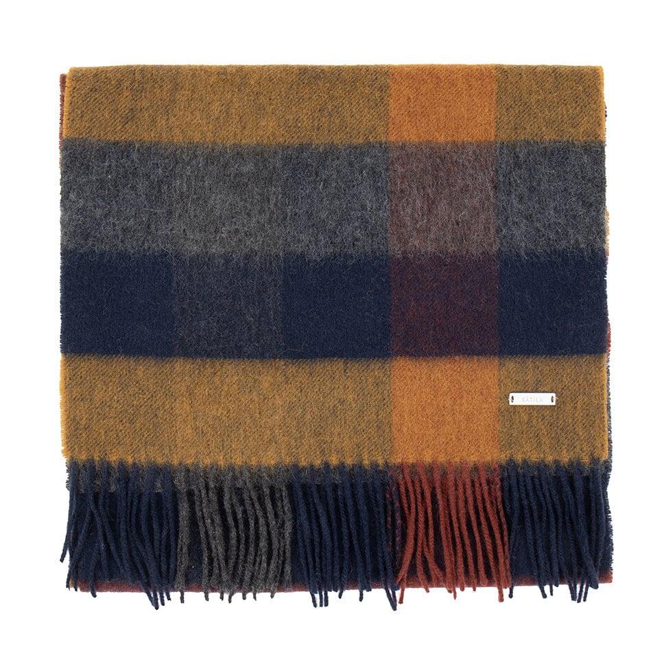 Rutmönstrad halsduk i nav, rött och gult