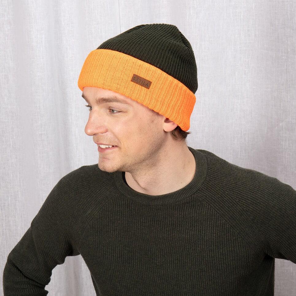Grön/orange mössa med uppvik, hög synlighet