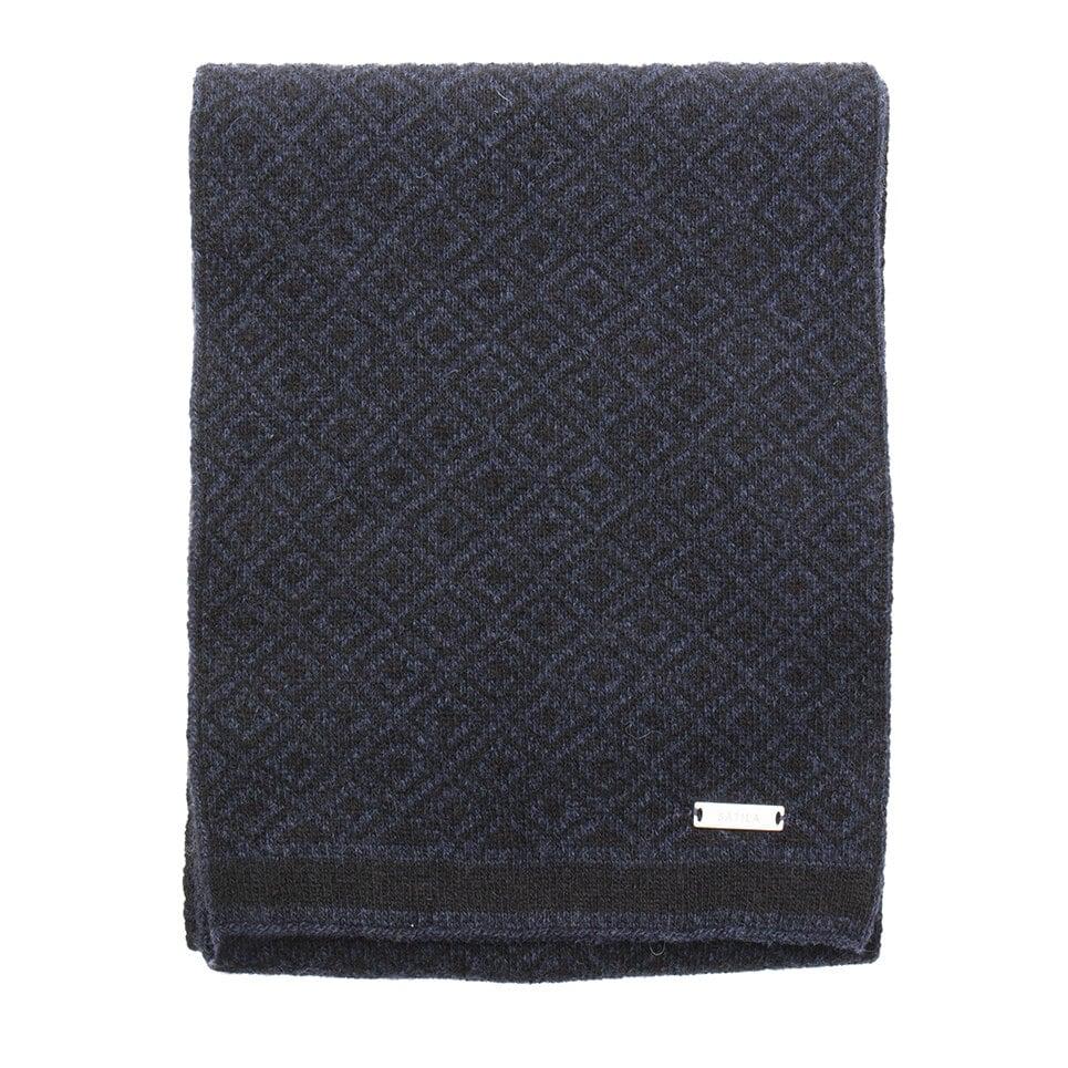 Svart och mörkblå halsduk med diskret mönster