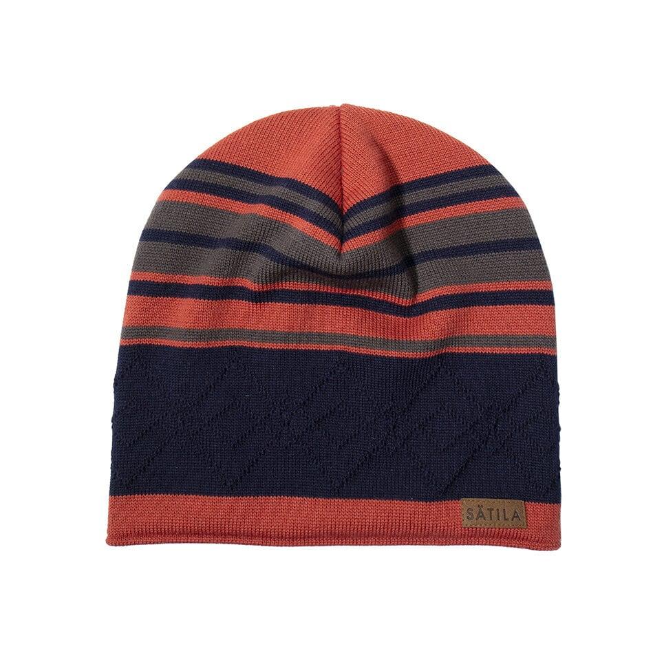Orange, grå och mörkblå mössa med oregelbundna ränder